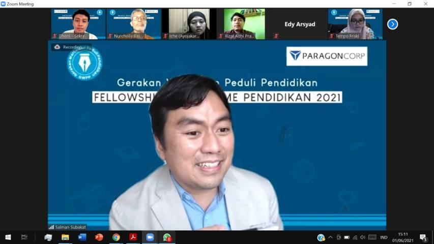CEO Paragon Salman Subakat saat menjadi pemateri dalam acara Fellowship Jurnalisme Pendidikan yang digagas oleh Gerakan Wartawan Peduli Pendidikan (GWPP) dan PT Paragon Technology and Innovation pada Senin (01/06/2021).(Foto: Rap/Tugu Jatim)
