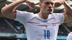 Pemain Ceko Patrik Schick saat melakukan selebrasi setelah mencetak gol melalui penalti. (Foto: IG Euro2020/Tugu Jatim)