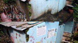 Before dan after karya mural mahasiswa Kuliah Kerja Nyata (KKN) Universitas Negeri Malang (UM) Tahun 2021 di Taman Keceh, di Kampung Celaket RT 03, RW 02, Kota Malang. (Foto: Dokumen/Tugu Jatim)