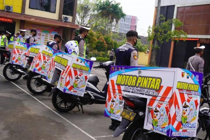 "Launching ""Motor Pintar Anak Tangguh Semeru"" di Mapolres Bojonegoro, Senin (21/06/2021). (Foto: Humas Polres Bojonegoro/Tugu Jatim)"