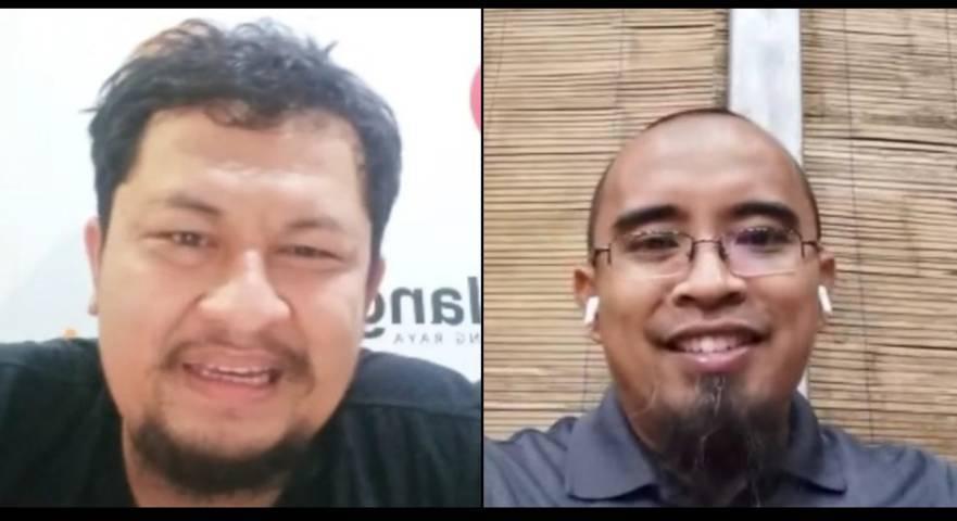Ketua TDA Malang, Rendra MS (kanan) dalam bincang bincang bersama CEO tugumalang.id, Irham Thoriq. (Foto: Dokumen)
