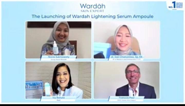 "Virtual Press Conference ""The Launching of Wardah Lightening Serum Ampoule"" pada Senin (21/06/2021). (Foto: Mila Arinda/Tugu Jatim)"