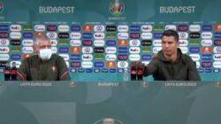Aksi Christiano Ronaldo menyingkirkan 2 botol Coca-Cola saat konferensi pers usai laga grup F Euro 2020 antara Portugal vs Hungaria. (Foto:@nowthisnews/Tugu Jatim)