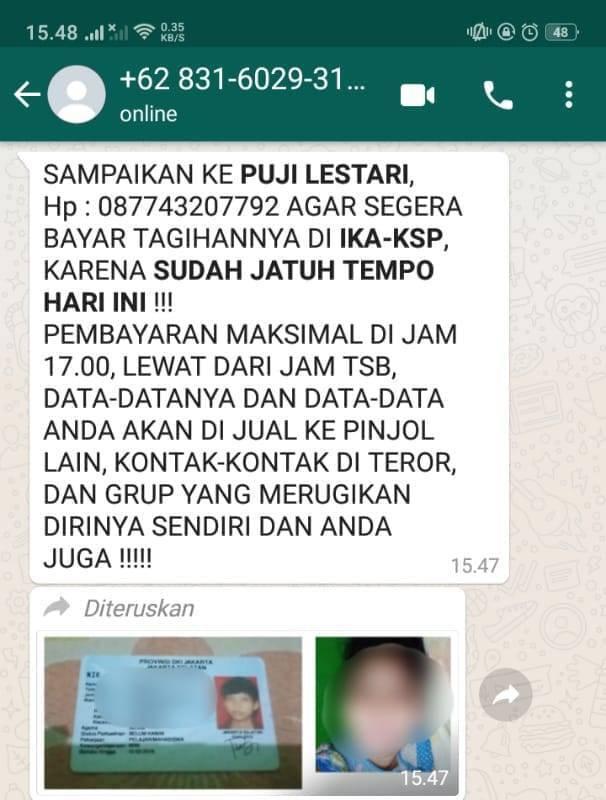 Tagihan pinjaman online (pinjol) yang dikirim ke nomor telepon mahasiswa di Bojonegoro. (Foto: Istimewa/Tugu Jatim)