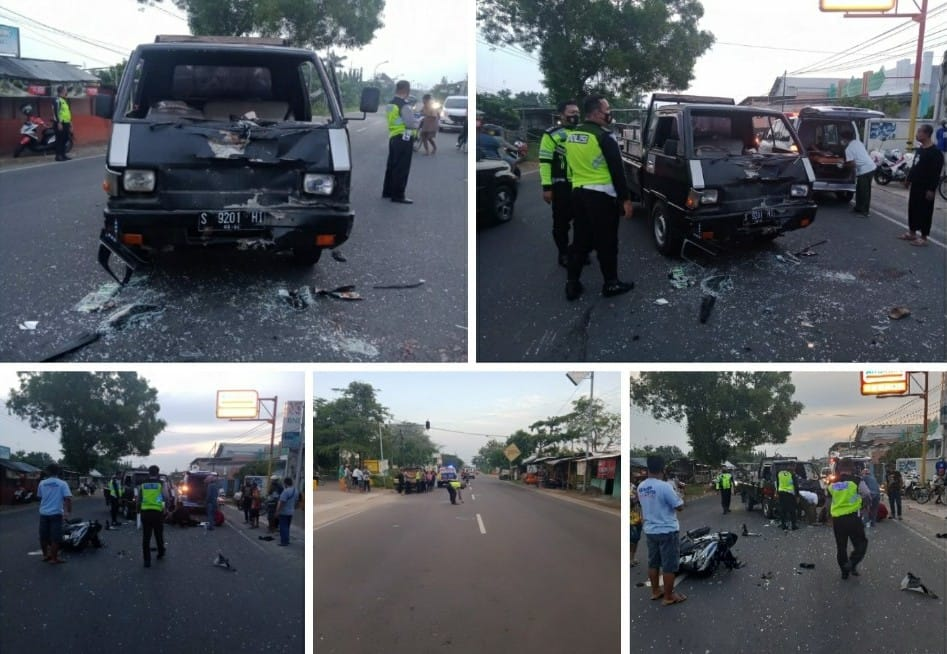 Laka lantas terjadi di Jalan KH Fatkurrahman Kafrawi, Desa Bogorejo, Kecamatan Merakurak, Tuban, Jumat pagi (18/06/2021). (Foto: Humas Polres Tuban/Tugu Jatim)