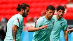 Para pemain Timnas Portugal ketika menjalani latihan sebelum melawan Hungaria di Stadion Puskas Arena, Budapest, Hungaria pada Selasa (15/6/2021) malam, mulai pukul 23.00 WIB. (Instagram/Timnas Portugal) portugal vs hungaria