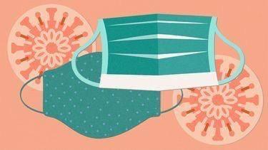 Ilustrasi penggunaan double masking. (Foto: Pinterest/Tugu Jatim)