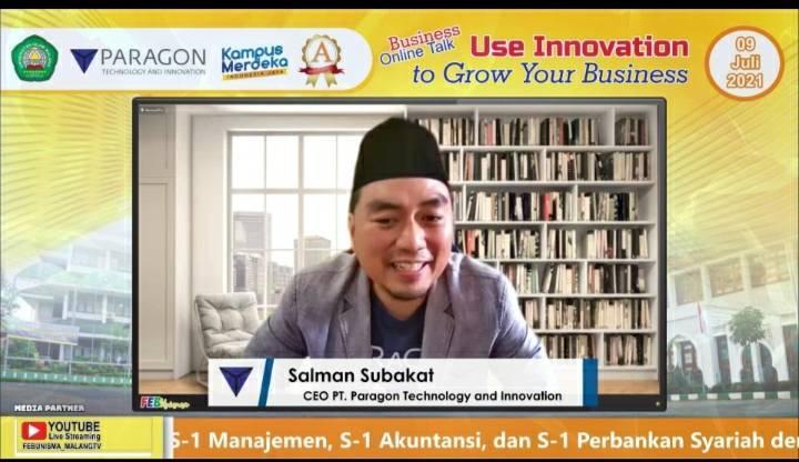 CEO Paragon Salman Subakat dalam Business Online Talks bersama Fakultas Ekonomi dan Bisnis Universitas Islam Malang (FEB Unisma) dengan tema Use Innovation to Grow Your Business secara daring pada Jumat (09/07/2021).(Foto: Feni Yusnia/Tugu Jatim)