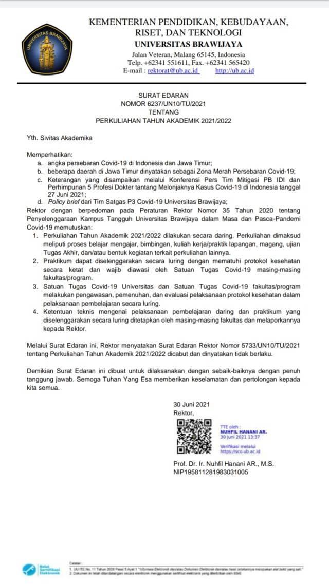 Surat Edaran Nomor 6237/UN10/TU/2020 dari pihak Rektorat UB. (Foto: Agung Mahardika/Tugu Jatim)