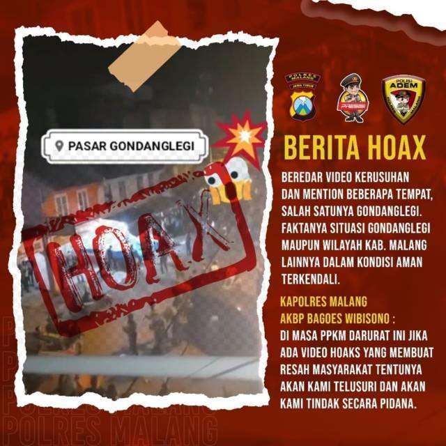 Video hoaks kerusuhan di Pasar Gondanglegi, Kabupaten Malang. (Foto: Humas Protokol Polres Malang/Tugu Jatim)
