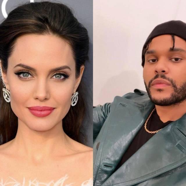 Angelina Jolie dan The Weeknd. (Foto: Pinterest dan IG pribadi The Weeknd/Tugu Jatim)