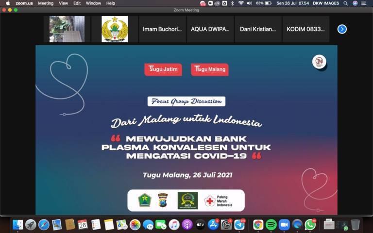 """Focus Group Discussion (FGD) bertajuk """"Dari Malang Untuk Indonesia, Mewujudkan Bank Plasma Konvalesen untuk Mengatasi Covid-19"""" pada Senin (26/07/2021) secara virtual.(Foto: Dani/Tugu Jatim)"""