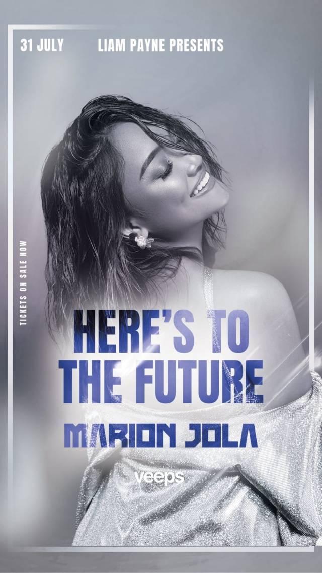 "Liam Payne gandeng Marion Jola dalam acara bertajuk ""Here's To The Future"". (Foto: Twitter @liampayne/Tugu Jatim)"