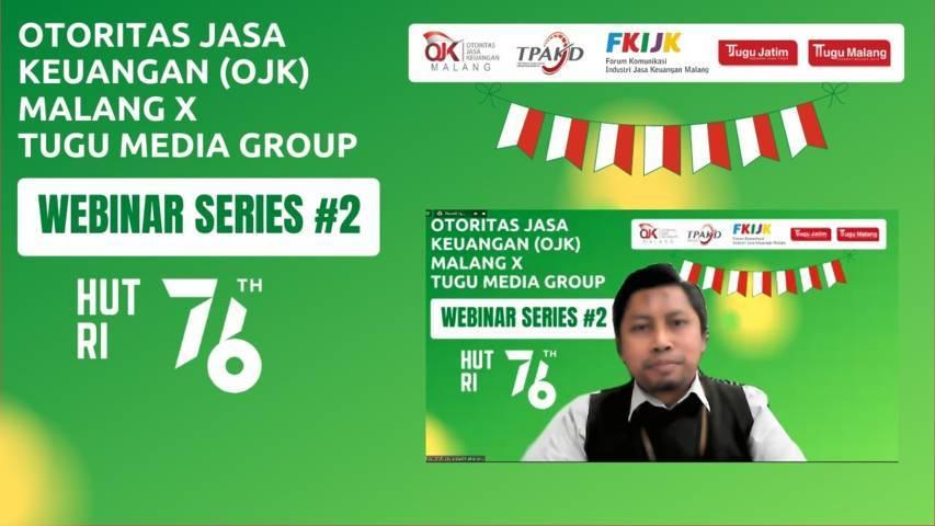 Area Manager Bank Syariah Indonesia (BSI) Malang Moh. Endry Dzul Fikri sedang memaparkan materinya di acara Webinar Series Kedua Otoritas Jasa Keuangan (OJK) Malang berkolaborasi dengan Tugu Media Group, Kamis (29/07/2021).(Foto: M.Sholeh/Tugu Jatim)