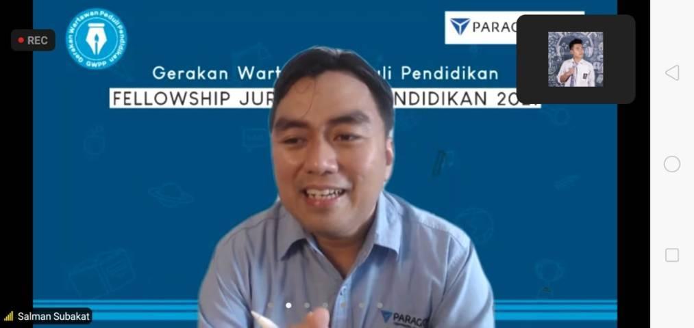 CEO Paragon Salman Subakat pada Program Fellowship Jurnalisme Pendidikan Batch 2 yang digagas oleh Gerakan Wartawan Peduli Pendidikan (GWPP) dan PT Paragon, Rabu (21/07/2021). (Foto: Rizal Adhi/Tugu Jatim)