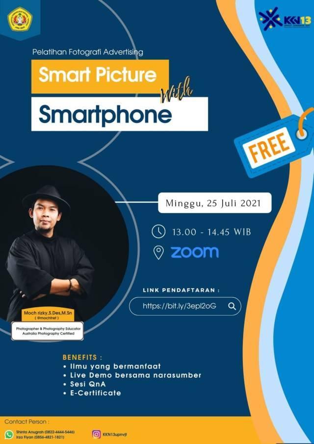 """Poster pelatihan """"Smart Picture with Smartphone"""" secara virtual. (Foto: Dok mahasiswa KKN Kelompok 13 UPNVJT/Tugu Jatim)"""