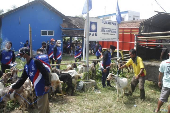 Penyembelihan hewan kurban oleh PAN di Kabupaten Nganjuk sekaligus merupakan wujud kepedulian kepada masyarakat. (Foto: Rino Hayyu/Tugu Jatim)