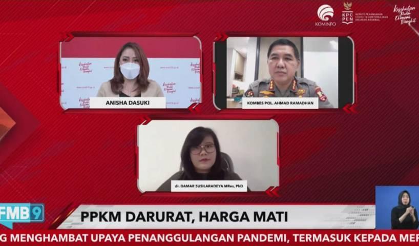 """Virtual Dialog oleh KPCPEN bertajuk """"PPKM Darurat, Harga Mati"""" pada Selasa (06/07/2021). (Foto: Rizal/Tugu Jatim)"""