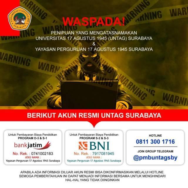 Bank resmi yang dipakai Untag Surabaya. (Foto: Untag Surabaya/Tugu Jatim)