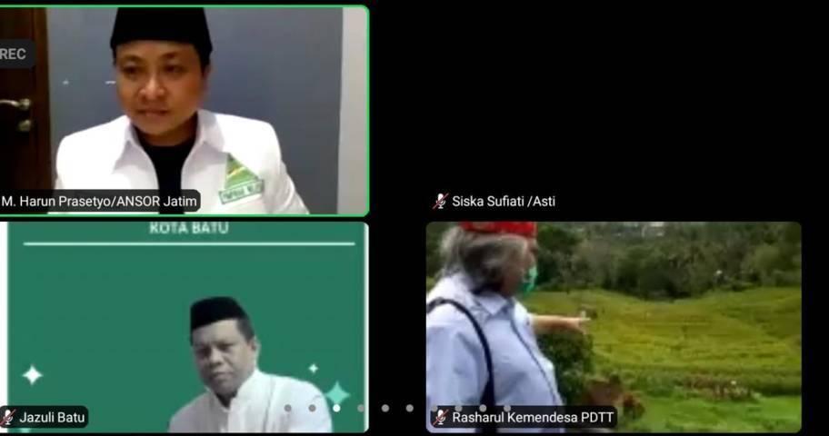 Tangkapan layar saat PW GP Ansor Jatim menggelar doa dan istighotsah untuk Andry Dewanto. (Foto: Dokumen/Tugu Jatim)
