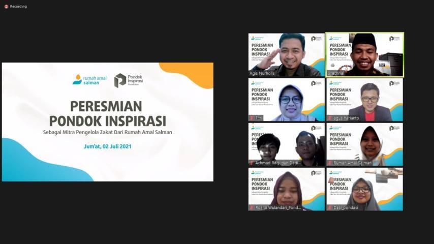 Peresmian Pondok Inspirasi menjadi Mitra Pengelola Zakat (MPZ) dari Rumah Amal Salman milik PT Paragon Technology and Innovation melalui Zoom Meeting pada Jumat (03/07/2021). (Foto: Rosita Wulandari/Tugu Jatim)