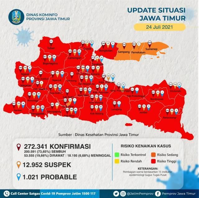 Tangkapan layar info Peta sebaran Covid-19 di Jawa Timur pada Sabtu (24/7/2021), akun Twitter resmi Pemprov Jawa Timur (@jatimPemprov) tugu jatim