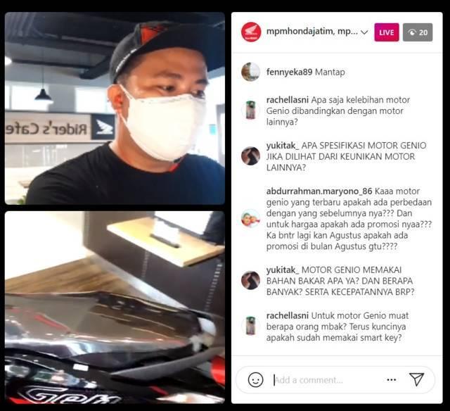 Kopdar virtual bersama komunitas Honda Genio Riders Indonesia (HGRI) Chapter Malang secara langsung di Instagram pada Jumat (30/07/2021). (Foto: Dokumen/Tugu Jatim)