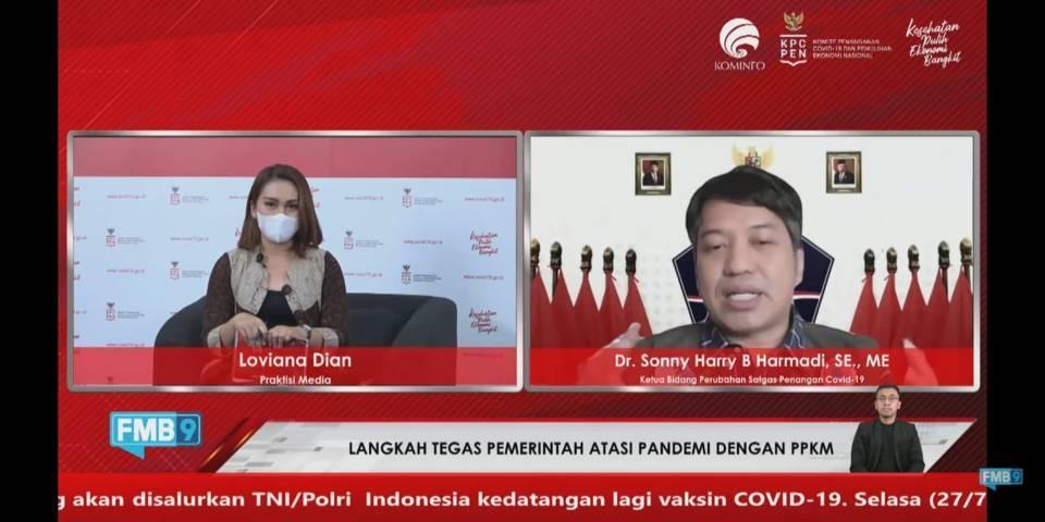 Virtual Dialog oleh KPCPEN terkait evaluasi penanganan Covid-19 dari penerapan PPKM Level 4, Rabu (28/7/2021). (Foto: Dokumen/Tugu Malang/Tugu Jatim)