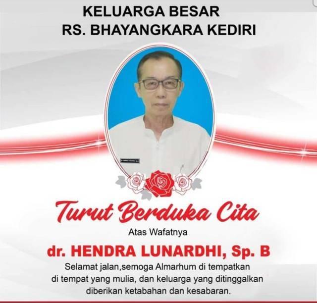 Dokter bedah senior, dr Hendra Lunardi, Sp.B, meninggal dunia setelah terpapar Covid-19 pada Jumat (30/7) malam. (Foto: Dokumen) tugu jatim
