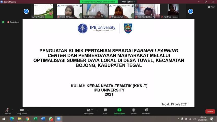 KKN-T mahasiswa IPB University akan mengabdi di Desa Tuwel, Kecamatan Bojong, Kabupaten Tegal, pada Juli-Agustus 2021. (Foto: Dokumen/Tugu Jatim)