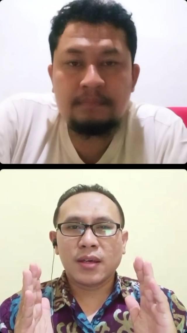 Acara diskusi antara CEO Tugu Media Group, Irham Thoriq dan Dosen Psikologi FISIP UB, Ilhamuddin Nukman SPsi MA. (Foto: Dokumen) tugu jatim