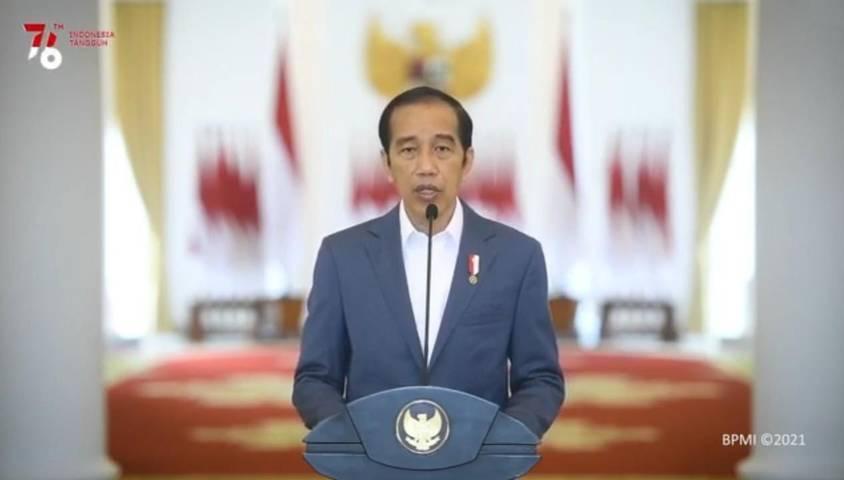 Presiden Jokowi saat menyampaikan sambutannya dalam acara Launching Core Values dan Employer Branding ASN yang digelar Kementerian Pemberdayaan Aparatur Negara dan Reformasi Birokrasi (Kemenpan RB), Selasa (27/7/2021). (Foto : YouTube/Sekretariat Presiden)