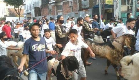 Tradisi mengarak kambing sebelum disembelih warga Jalan Gatot Subroto 2, Kelurahan Temenggungan, Kecamatan Klojen, Kota Malang pada perayaan Idul Adha tahun 2020 lalu. (Foto: M Ulul Azmy/Tugu Malang/Tugu Jatim)