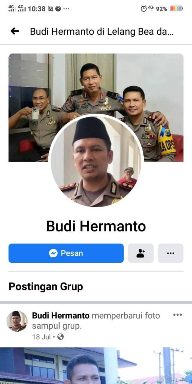 Akun Facebook palsu menyaru nama Kapolresta Malang Kota AKBP Budi Hermanto yang digunakan untuk melakukan penipuan. (Foto: tangkapan layar)