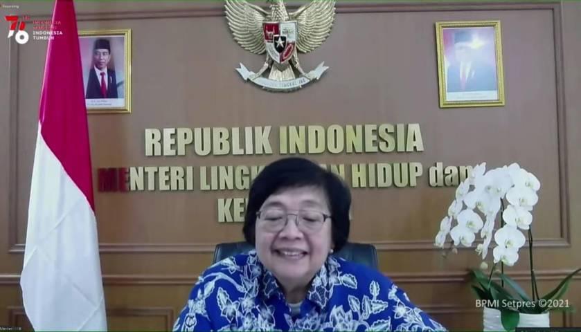 Menteri Lingkungan Hidup dan Kehutanan (LHK) Siti Nurbaya dalam keterangan pers di YouTube Sekretariat Presiden, Rabu (28/07/2021). (Foto: Dok. YouTube/Sekretariat Presiden) tugu jatim