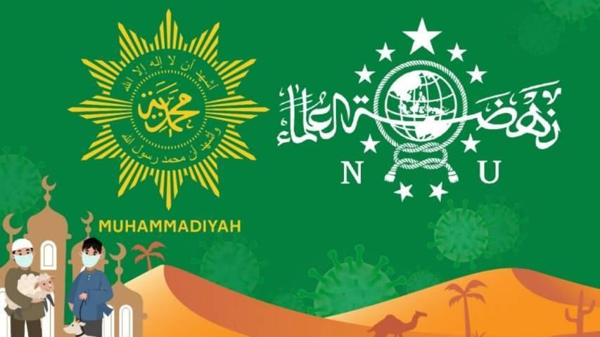 Lambang dua organisasi terbesar di Indonesia, Nahdlatul Ulama (NU) dan Muhammadiyah. (Foto: Kemenag) tugu jatim