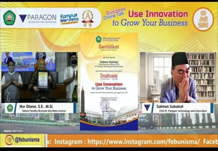 Kegiatan Business Online Talks FEB Unisma bertajuk Use Innovation to Grow Your Business bersama PT Paragon Technology and Innovation. (Foto: tangkapan layar)