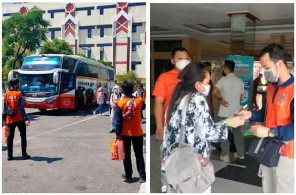 Ilustrasi PMI yang tiba di Asrama Haji, Surabaya untuk menjalani karantina demi mencegah penyebaran Covid-19. (Foto: Dokumen/Kominfo Jatim) tugu jatim