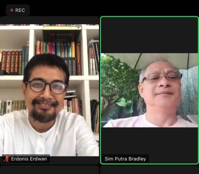 Sim Putra Bedley selaku President Director dari PT Beton Indotama Surya dan juga merupakan Ketua Komite Manufaktur Kadin (Kamar Dagang Industri) Jawa Timur saat zoom meeting, Senin (19/07/2021). (Foto: Dokumen) tugu jatim