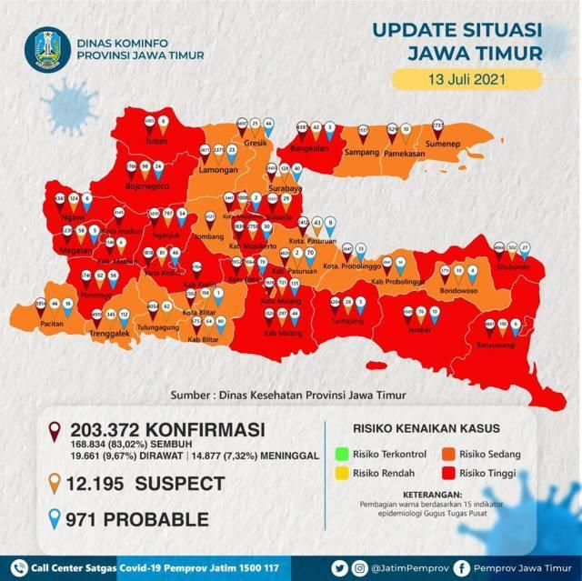 Peta zona sebaran kasus Covid-19 di Jawa Timur. (Foto: Diskominfo Jatim)