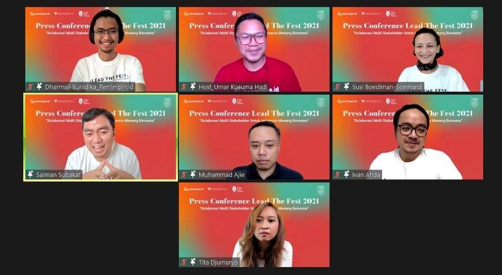 Suasana konferensi pers Lead The Fest 2021, salah satu acara Pemimpin.id/tugu jatim
