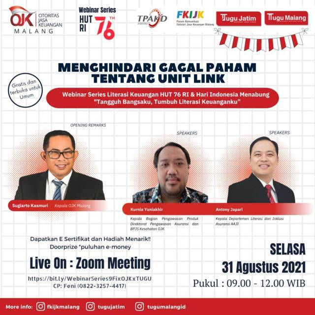 Webinar OJK Malang X Tugu Media Group. (Foto: Dokumen/Tugu Jatim)
