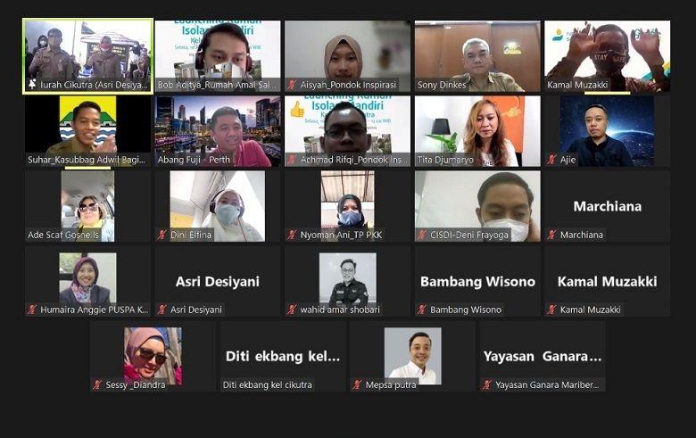 Acara peresmian rumah isolasi mandiri kelurahan Cikutra di kantor kelurahan Cikutra dan melalui virtual zoom meeting, Senin (10/08/2021)/tugu jatim