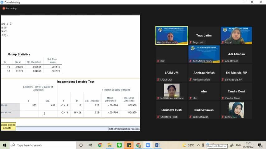 """Peserta Pelatihan Dasar SPSS bertajuk """"Analisis Data Kuantitatif Menggunakan SPSS"""" pada Kamis (05/08/2021). (Foto: Mila Arinda/Tugu Jatim)"""