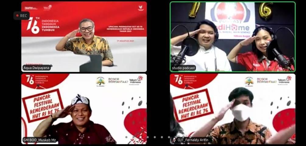 Puncak Festival Kemerdekaan HUT RI ke-76 Witel Bogor bertajuk Indonesia Tangguh Indonesia Tumbuh yang digelar secara virtual, Jumat (20/8/2021). (Foto: Dokumen) tugu jatim