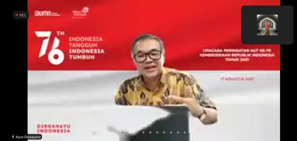 Dr Aqua Dwipayana saat mengisi sesi Sharing Komunikasi dan Motivasi bersama Telkom Witel Bogor secara virtual dari Kota Malang, Jumat (20/8/2021). (Foto: Dokumen) tugu jatim