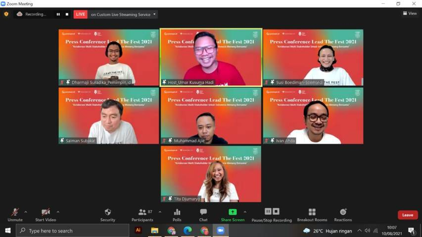 """Press conference Pemimpin.id me-launching Lead The Fest 2021 Talk Show """"Kolaborasi Multi Stakeholder untuk Indonesia Menang Bersama"""" pada Selasa (10/08/2021). (Foto: Mila Arinda/Tugu Jatim)"""