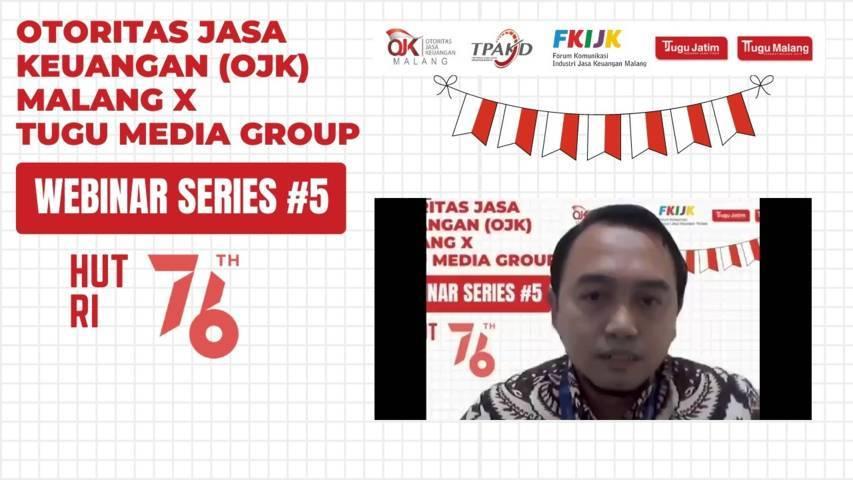 Manager Pemasaran Mikro BRI Kantor Cabang Malang, Gunawan Wibisono memaparkan materi KUR di webinar series #5, Selasa (10/8/2021). (Foto: Dokumen/Tugu Malang/Tugu Jatim)