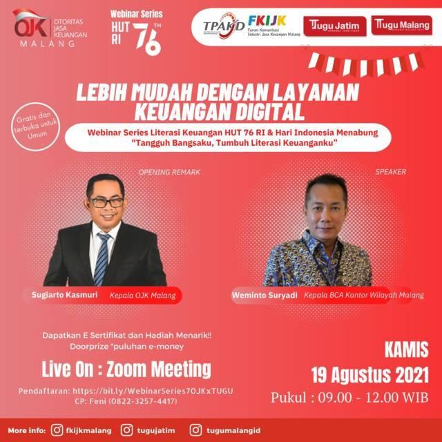 Webinar Series #7 yang digelar OJK Malang X Tugu Media Group. (Foto: Tugu Media Group/Tugu Jatim)