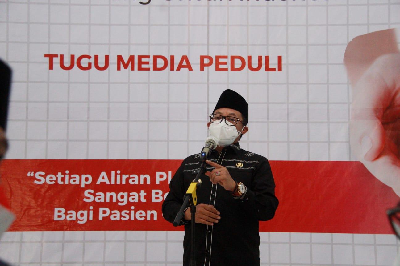 Wali Kota Malang Sutiaji saat memberikan sambutan di acara donor plasma konvalesen yang digagas Tugu Media Group di Aula Kantor DPRD Kota Malang pada Kamis (12/08/2021). (Foto: Rubianto/Tugu Jatim)